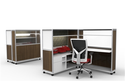 Bob Mobile Computer Cubicle Desk With Privacy Walls