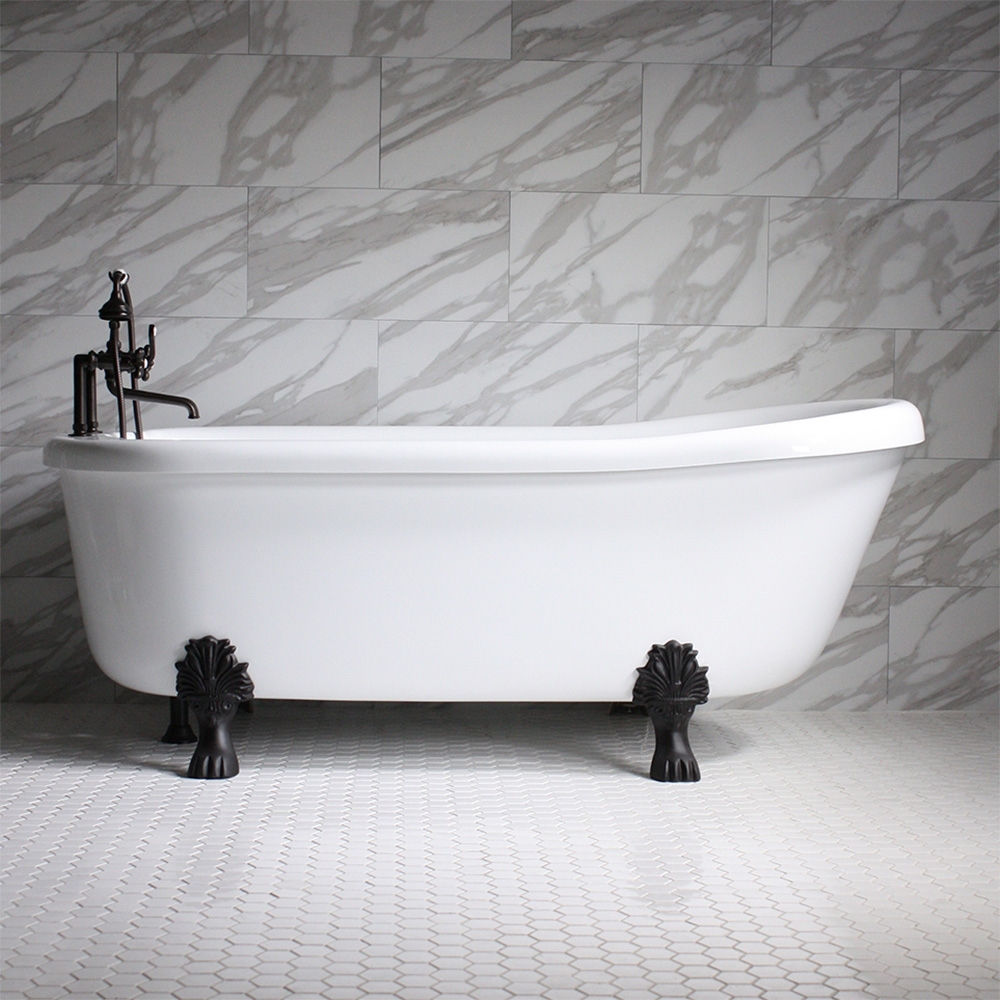 sansiro ss73a 73 heated air massage slipper clawfoot tub and faucet package with chromotherapy