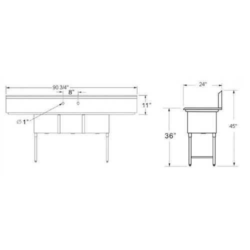 california cooking sink 3 tubs 18 x 18 2 drainboards 18 cc3 18