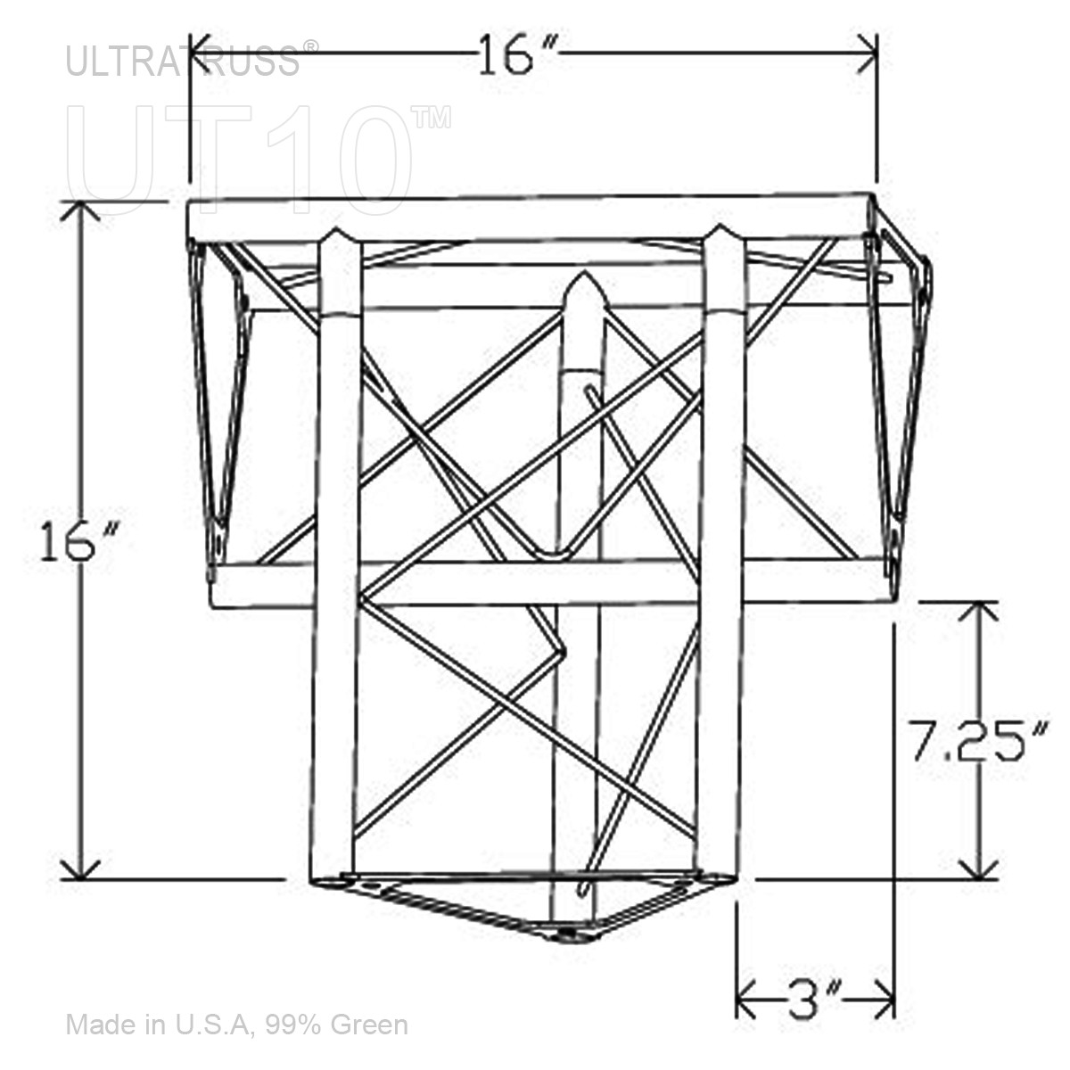 Inner Vertex 10 Inch Triangle Truss