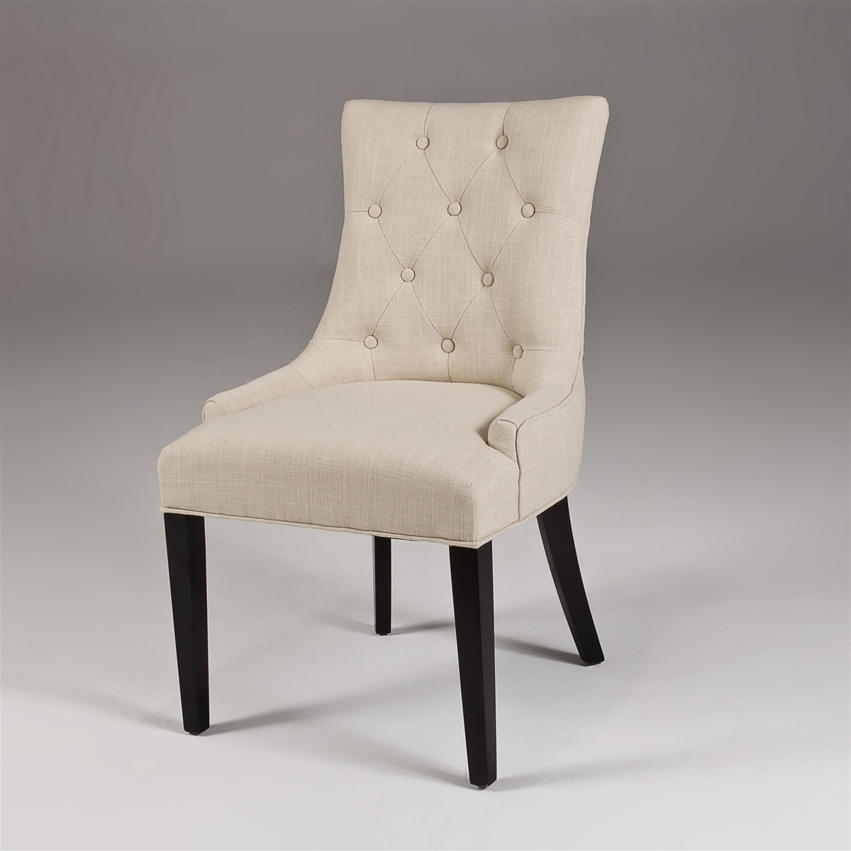 Modern Dining Chairs Beige Linen Dining Chairs Tufted
