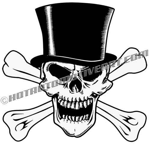 Skull Top Hat And Crossbones Vector Clip Art