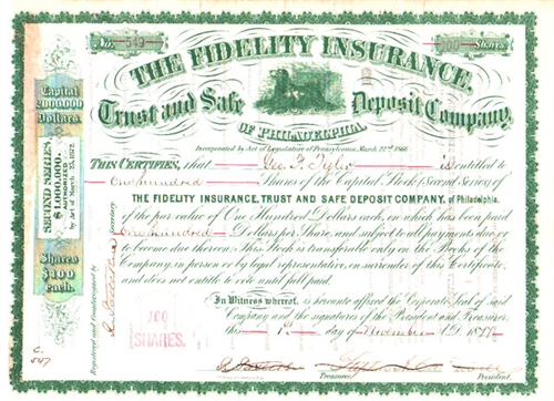 The Fidelity Insurance Trust And Safe Deposit Co Stock Certificate