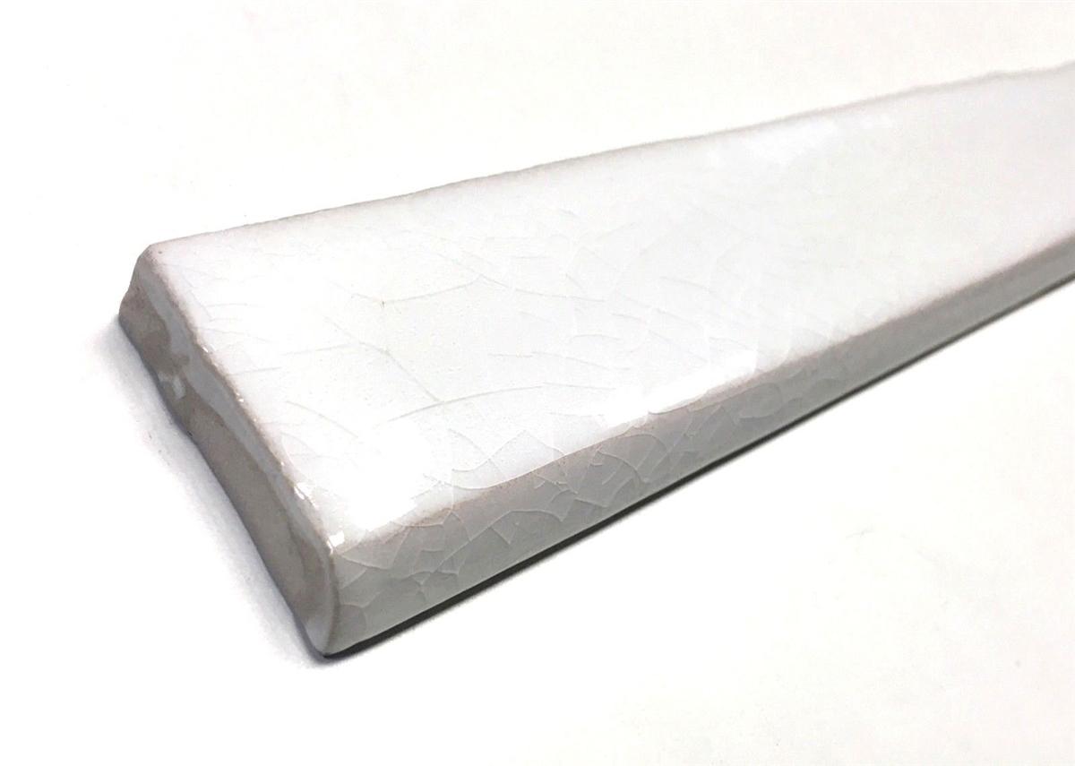1 5x12 bullnose white crackled ceramic trim wall tile