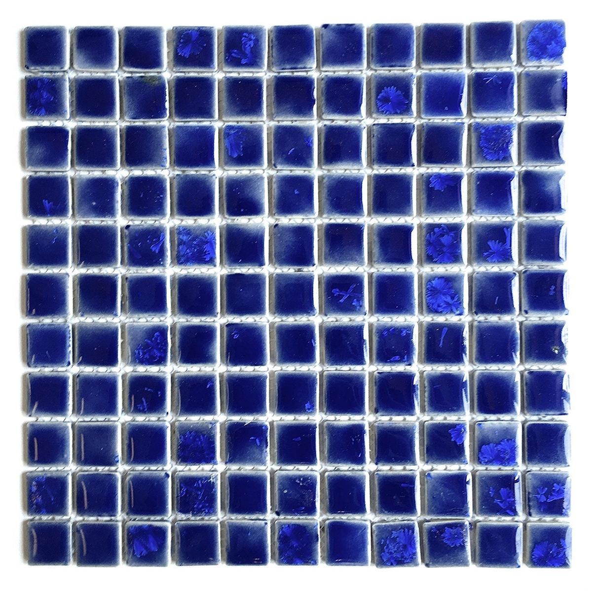 1x1 glossy navy blue shimmering handmade porcelain mosaic tile