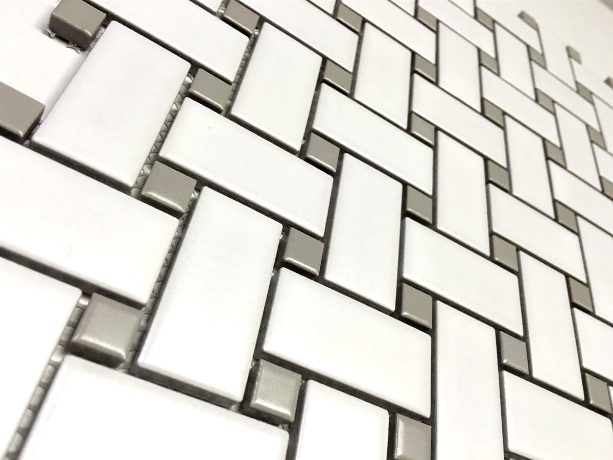 white and gray 1x2 basketweave porcelain mosaic tile floor and wall