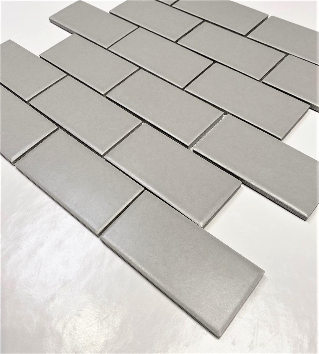 2x4 gray matte subway ceramic tile kitchen backsplash