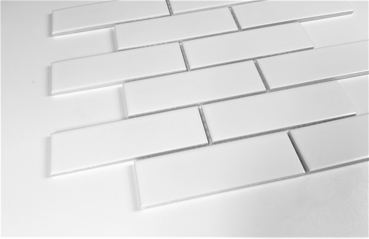 white 2x6 brick matte ceramic mosaic wall tile