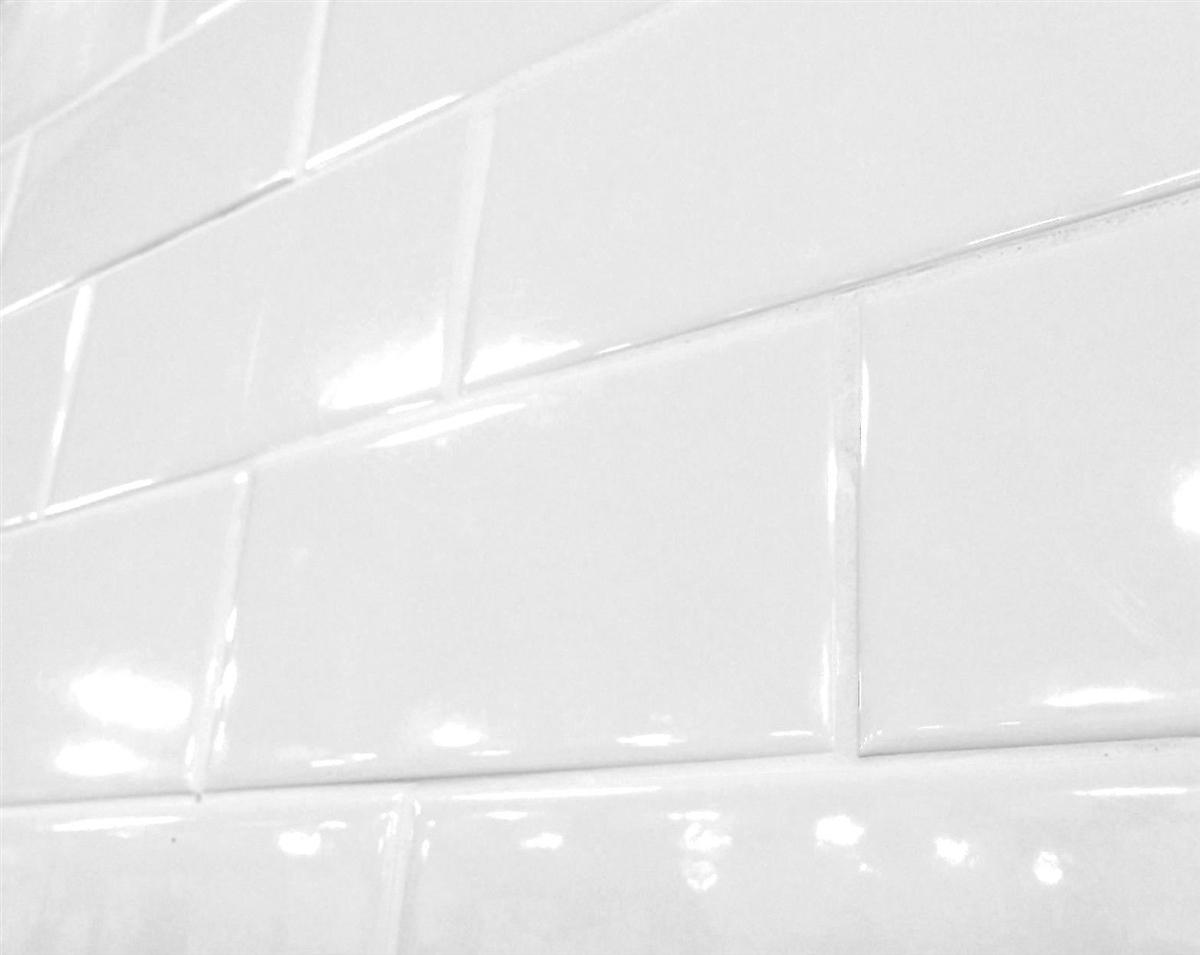 white 3x6 shiny glossy finish ceramic subway tile