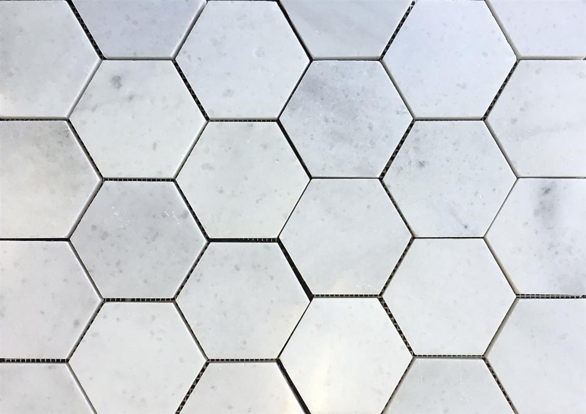 carrara white 4 hexagon marble mosaic wall floor tile