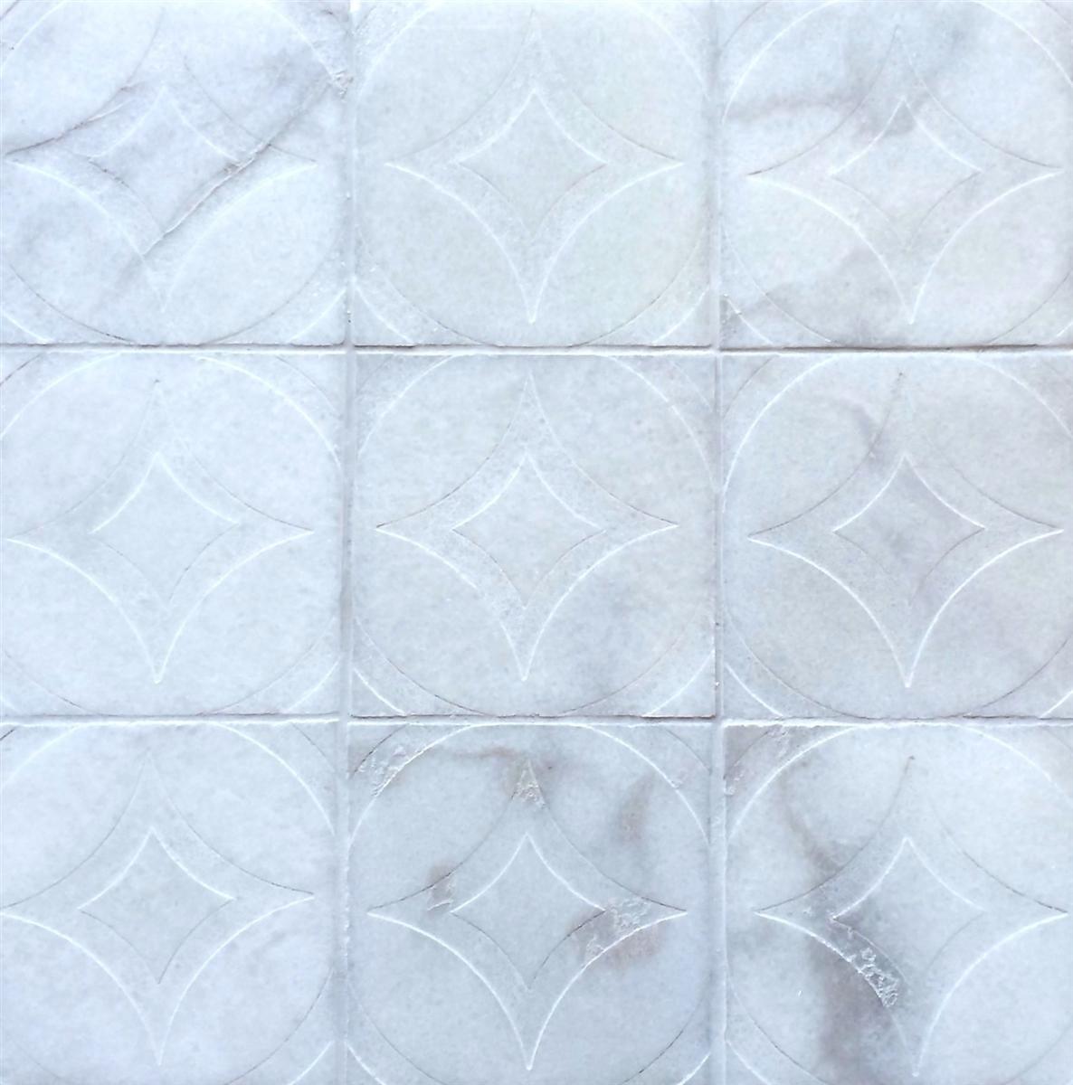 carrara marble circa carved 4x4 marble tile