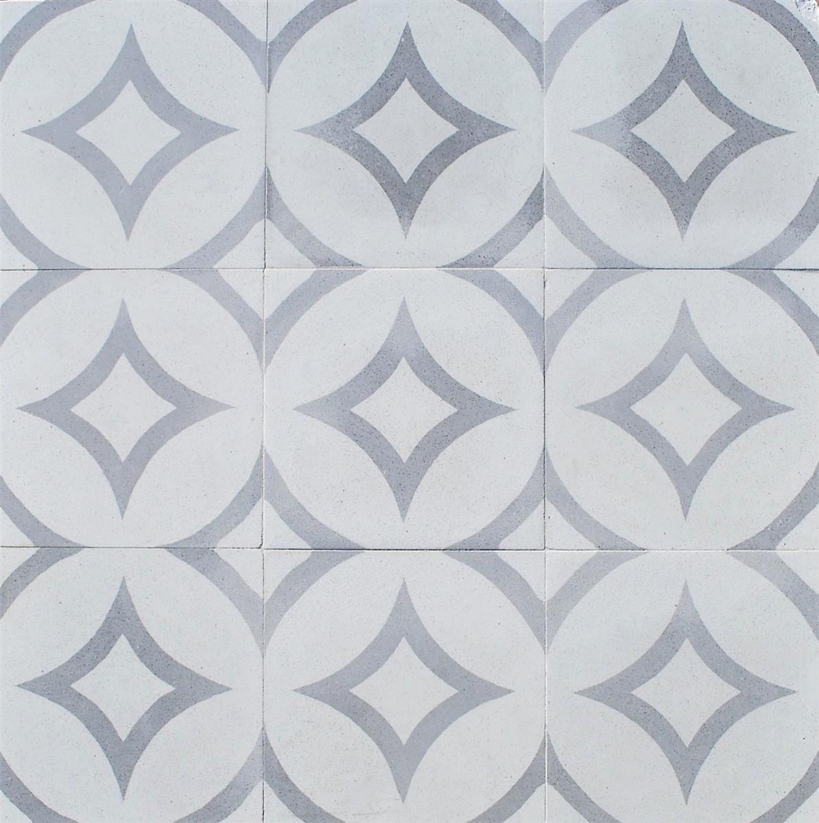 luna gray geo 8x8 encaustic cement floor tile