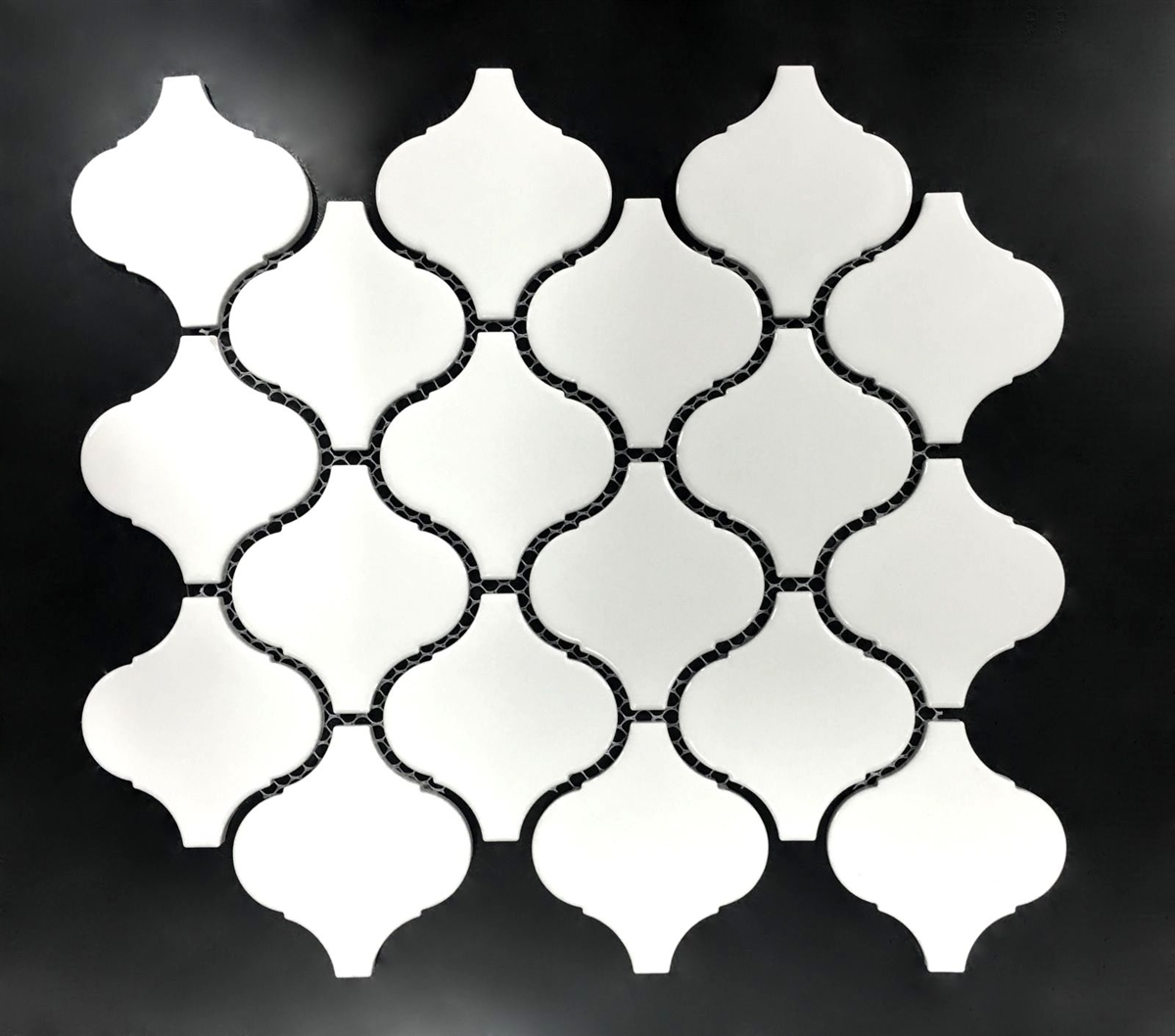 white glossy lantern arabesque porcelain mosaic tile