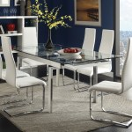 Wexford Glass Top Dining Table With Extension Leaves Chrome Coaster Furniture 106281