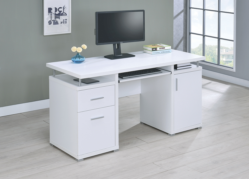 Business Industrial Office Desks Tables Modern Stylish Computer Desk In Gray W 2 Storage Drawers Pullout Keyboard Studio In Fine Fr