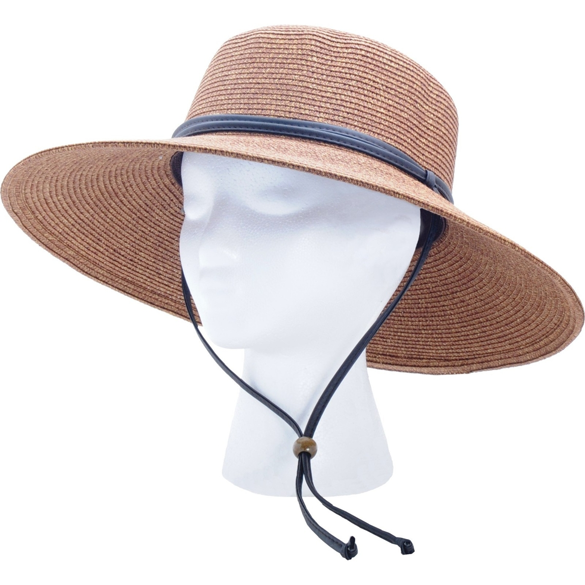 Sloggers Women S Braided Hat With Win Lanyard Dark Brown Upf 50 Maximum Sun Protection