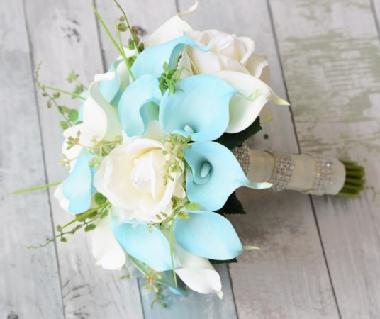Natural Touch Off White Turquoise Callas  Roses and Blue Calla     Alternative Views