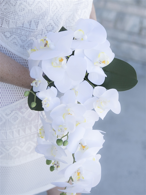 Natural Touch Off White Real Touch Orchids Bouquet