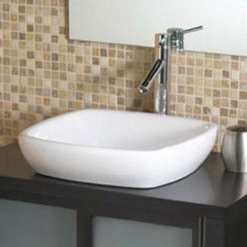 modern classic style semi recessed square white ceramic vessel bathroom sink