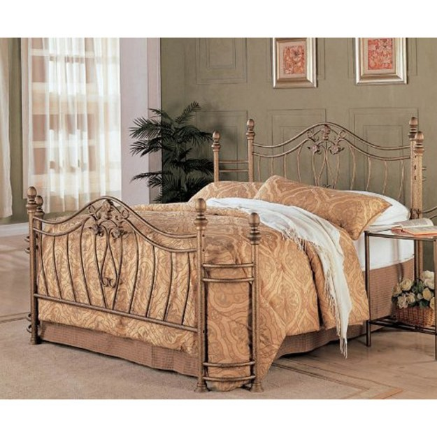 queen size metal bed with headboard and footboard in antique brushed