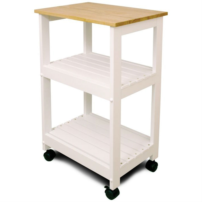 white kitchen microwave cart with