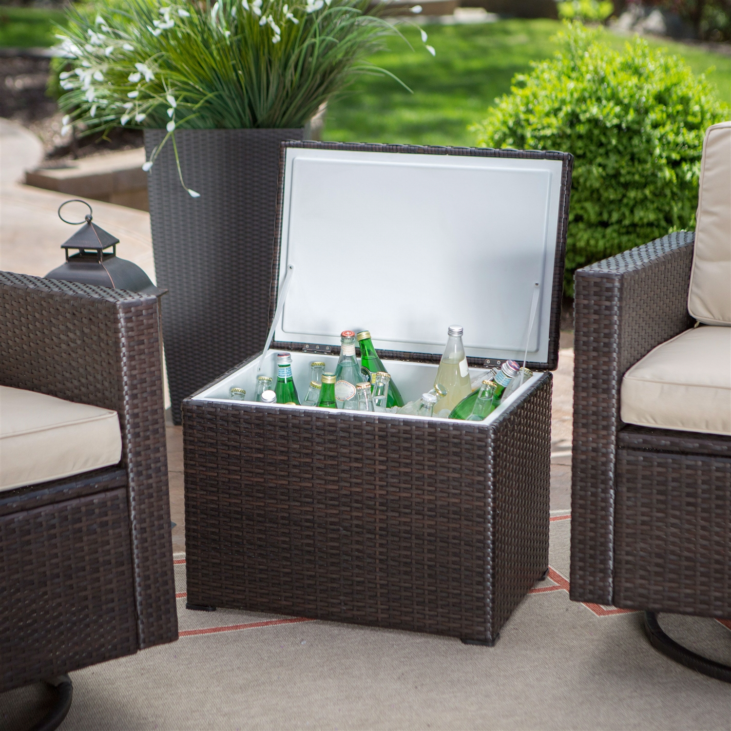 outdoor wicker resin 3 piece patio furniture dining set with cooler side table