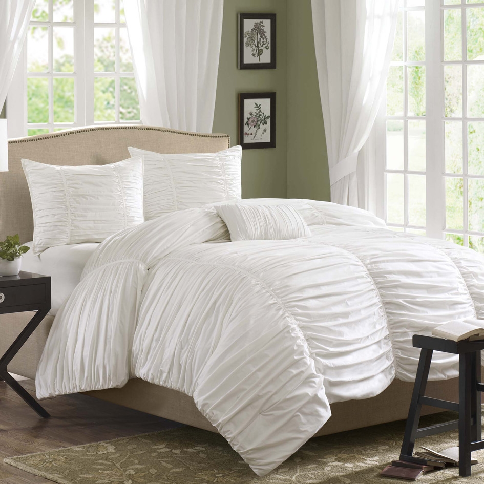 king size 4 piece comforter set in rouched white cotton microsuede