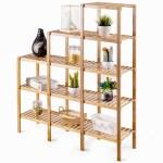 Bamboo Wood 5 Tier Versatile Bookcase Plant Stand Storage Rack Fastfurnishings Com