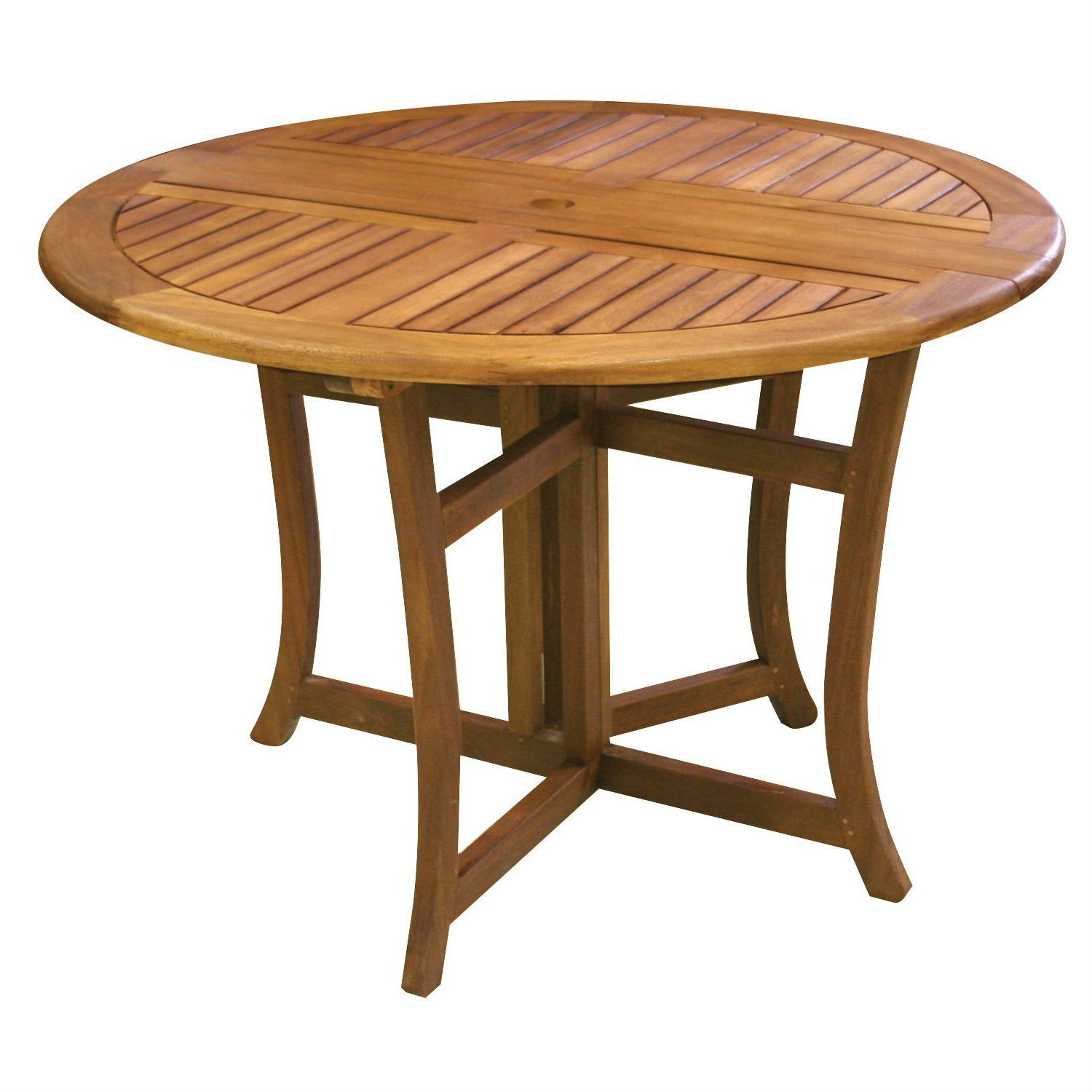 outdoor folding wood patio dining table 43 inch round with umbrella hole