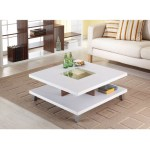Modern Square Coffee Table In White Wood Finish With Bottom Shelf Fastfurnishings Com