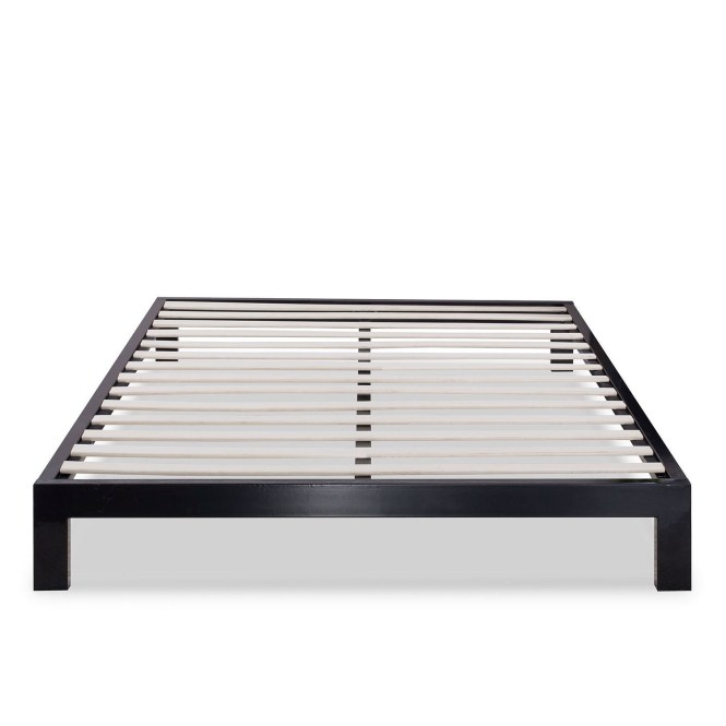 Full Size Contemporary Black Metal Platform Bed With Wooden Mattress Support Slats