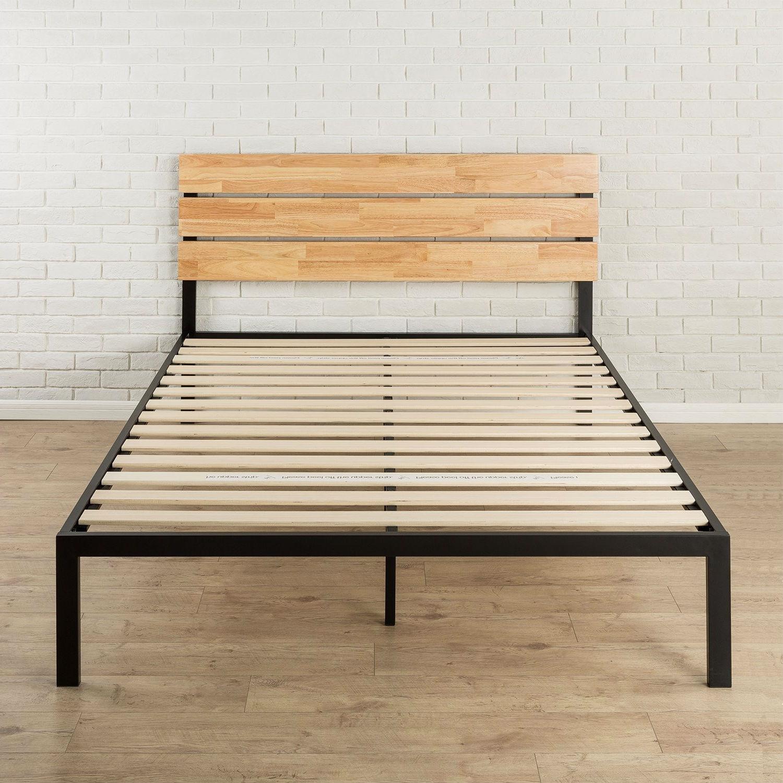 Full Size Metal Platform Bed Frame With Wood Slats And Headboard Fastfurnishings Com
