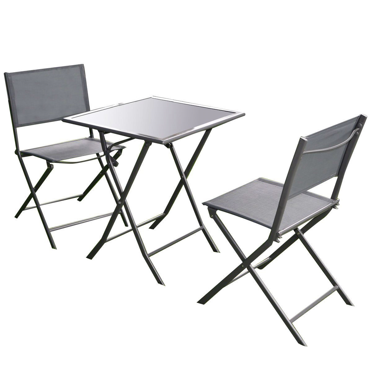 outdoor 3 piece patio furniture folding table chair set