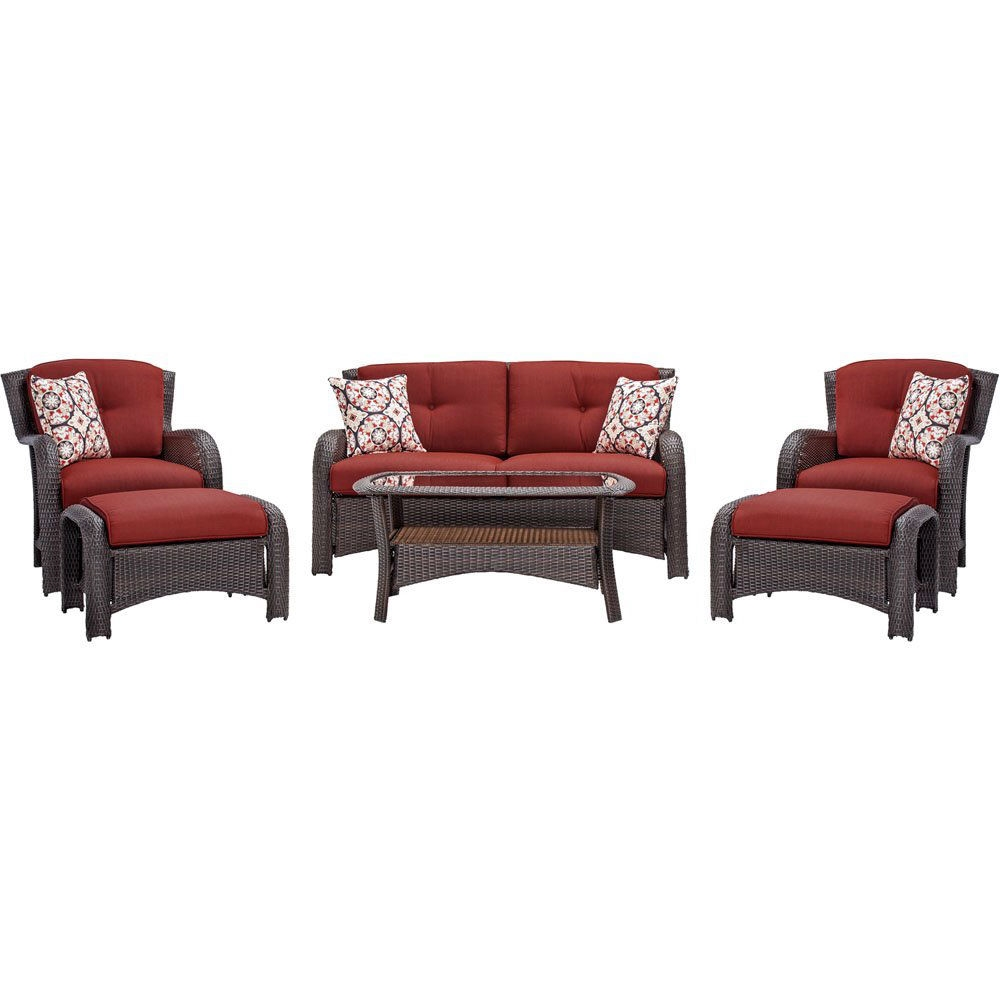 brown resin wicker 6 piece patio furniture lounge set with red seat cushions