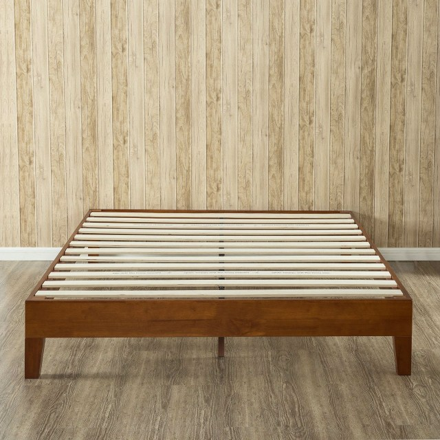 King Size Modern Low Profile Solid Wood Platform Bed Frame In Cherry Finish Fastfurnishings Com