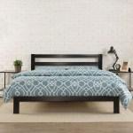 King Size Heavy Duty Metal Platform Bed Frame With Headboard And Wood Slats Fastfurnishings Com