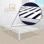 King Size Heavy Duty Metal Platform Bed Frame In White Fastfurnishings Com