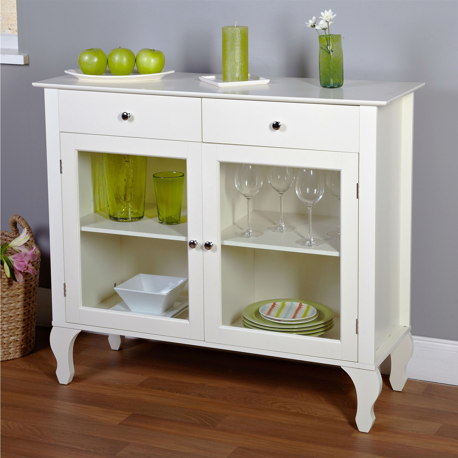 Antique White Sideboard Buffet Console Table With Glass