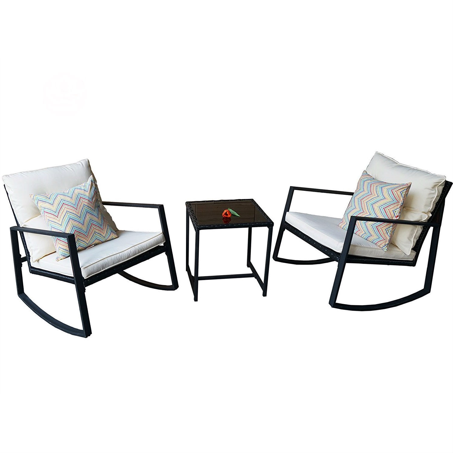 black outdoor 3 piece patio furniture set with 2 rocking chairs white cushions and coffee table