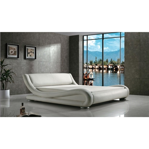 Queen Modern White Upholstered Platform Bed With Curved