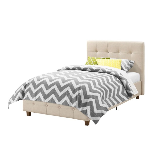 Twin Size Tan Linen Upholstered Platform Bed Frame With On Tufted Headboard