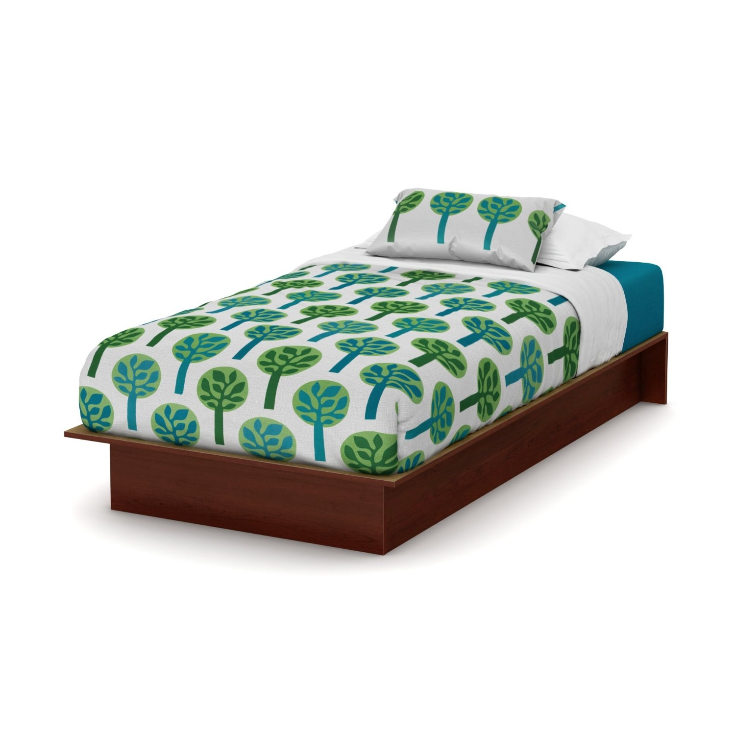 Twin Size Platform Bed Frame In Royal Cherry Wood Finish Fastfurnishings Com