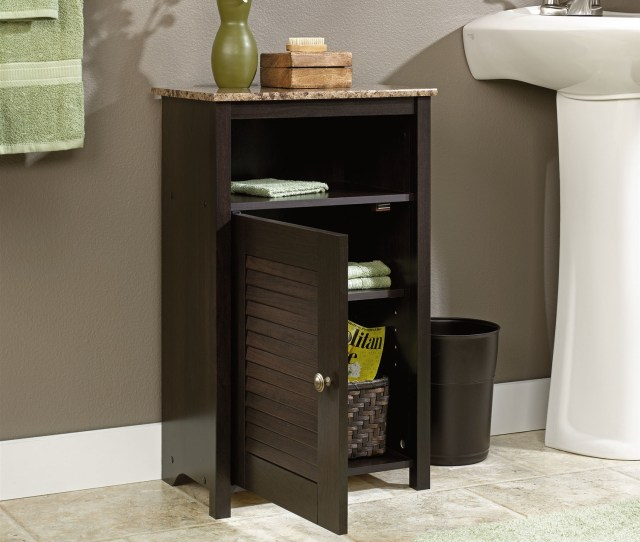 Bathroom Floor Cabinet With Shelf And Faux Granite Top Fastfurnishings Com