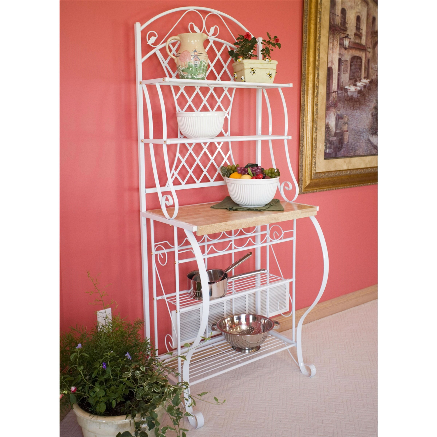 white metal bakers rack with 5 bottle wine rack and wooden work shelf