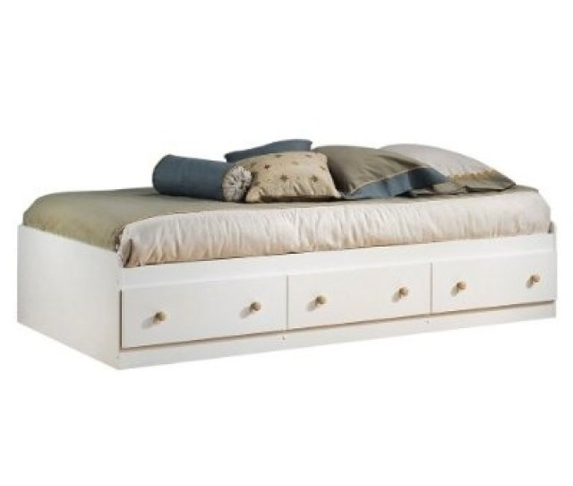 Twin Size Mates Platform Bed In White Maple With 2 Storage Drawers Fastfurnishings Com