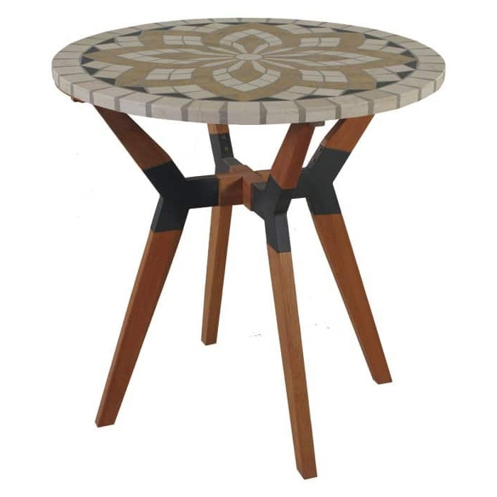 round 30 inch bistro style outdoor patio table with marble tile top