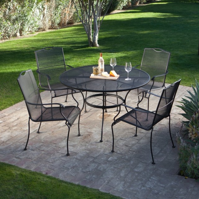 5-piece wrought iron patio furniture dining set - seats 4