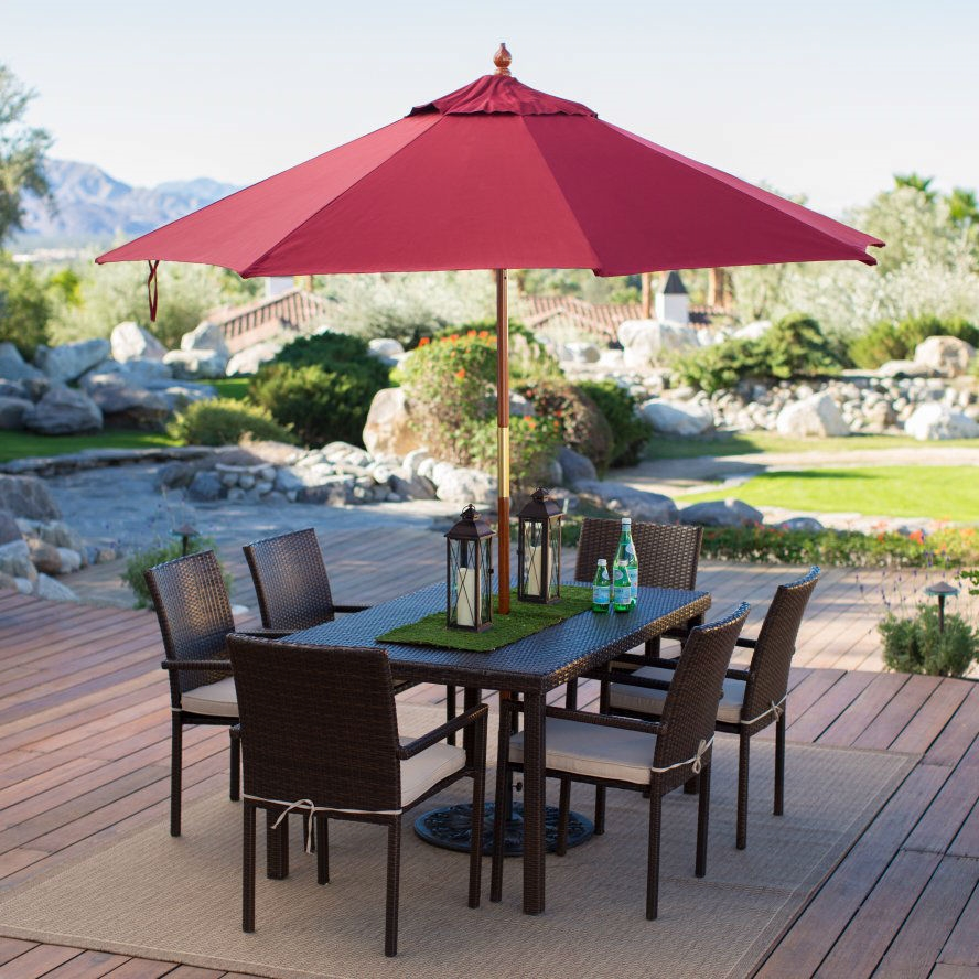 commercial grade 9 ft wood market umbrella with burgundy red sunbrella canopy