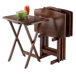 Set Of 4 Solid Wood Tv Tray Coffee Tables With Storage Rack In Walnut Fastfurnishings Com