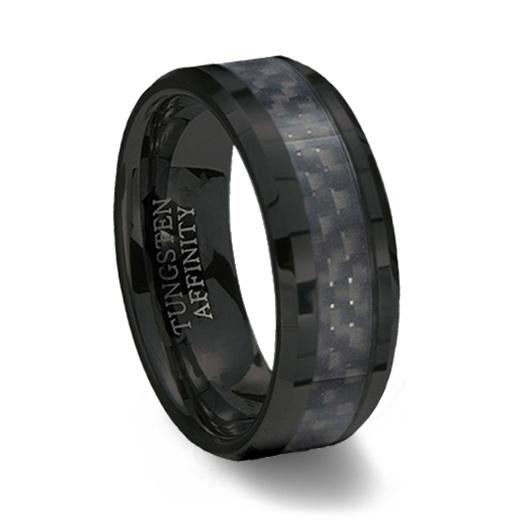 Black Ceramic Ring Black Carbon Fiber Inlay Tungsten